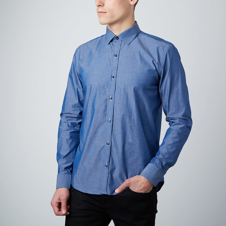 Far Out Paisley Cuff Button-Up Shirt // Blue
