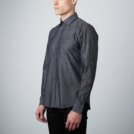 Paisley Shadows Button-Up Shirt // Charcoal
