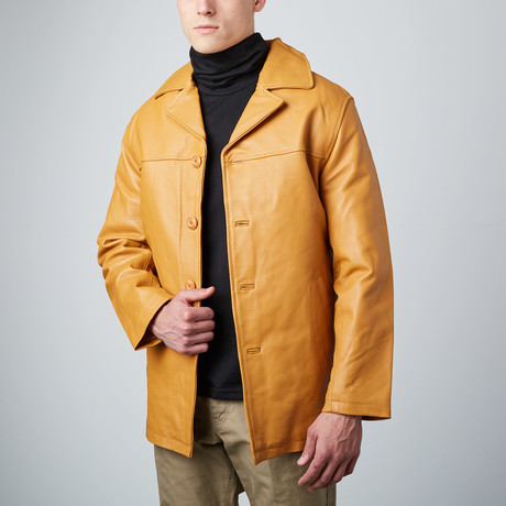 Tan Leather Carcoat