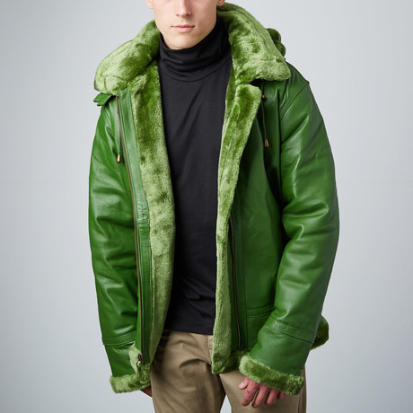 B3 Bomber with Detachable Hood // Green