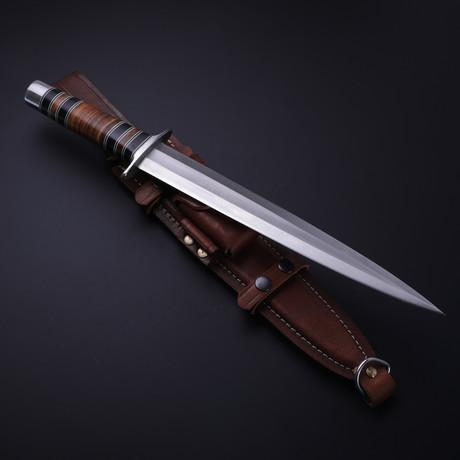 D2 Arkansas Toothpick Buffalo Horn + Walnut Dagger