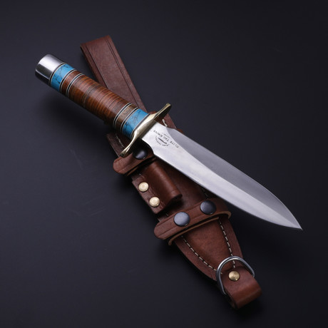 D2 Combat Turquoise + Walnut + Leather Dagger
