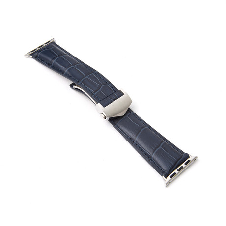 Alligator Embossed Apple Watch Strap // Blue (38mm-40mm // Space Black Stainless Steel Clasp)