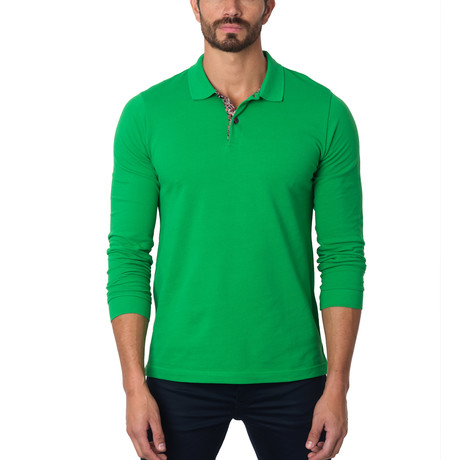 Long-Sleeve Polo // Green