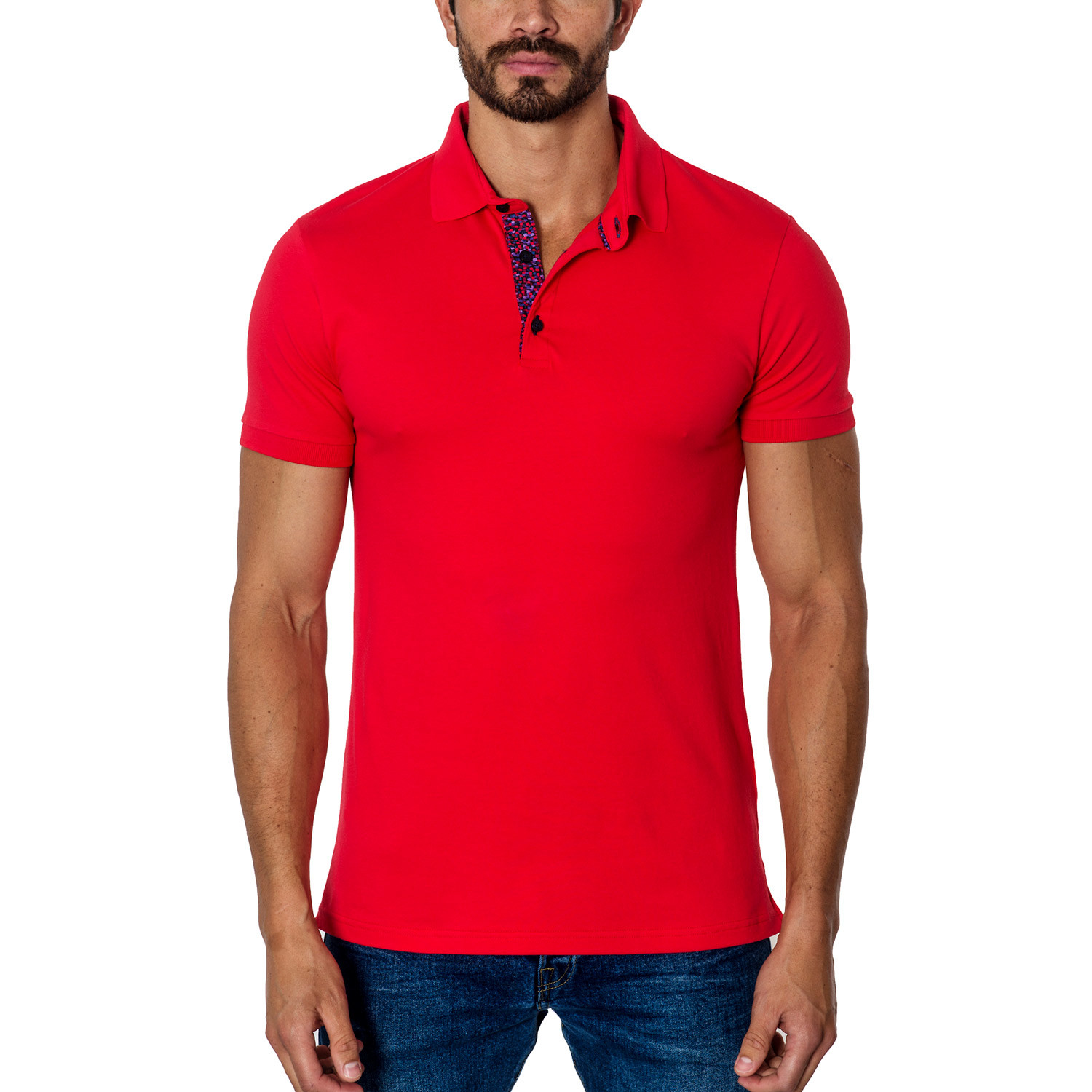 Short-Sleeve Polo // Red (S) - Jared Lang