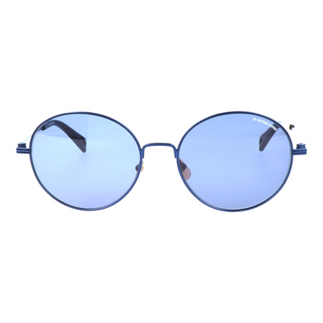 Oversized Round Sunglasses // Blue Semi Matte