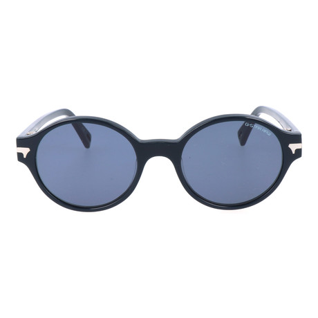 Thick Rim Heavy Bridge Circular Wayfarer // Navy
