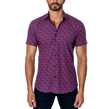 Woven Short Sleeve Button-Up // Red + Purple Dots (S)