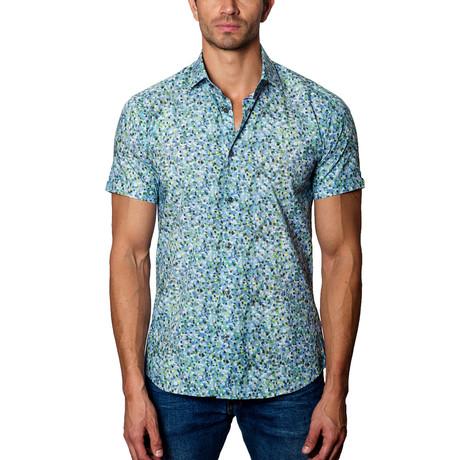 Short-Sleeve Woven Button-Up // Blue + Green