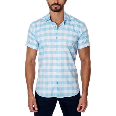 Short-Sleeve Button-Up // Blue + White (S)
