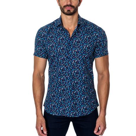Woven Short Sleeve Button-Up // Dark Blue Print (S)
