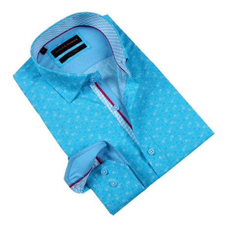 Paisley Party Button-Up Shirt // Turquoise