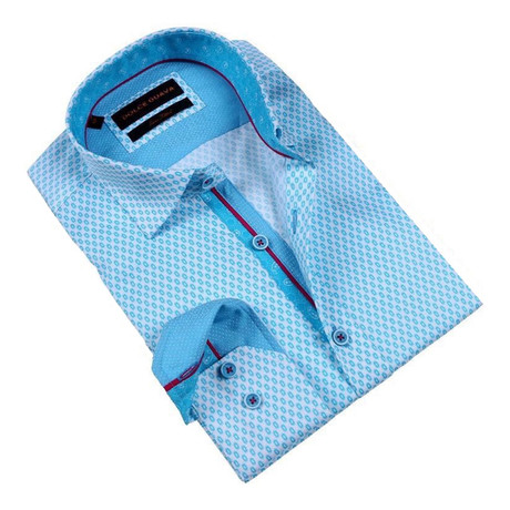 Eyelet Print Button-Up Shirt // Turquoise (S)