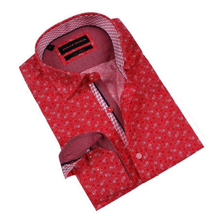 Paisley Party Button-Up Shirt // Red (S)