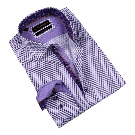 Eyelet Print Button-Up Shirt // Purple