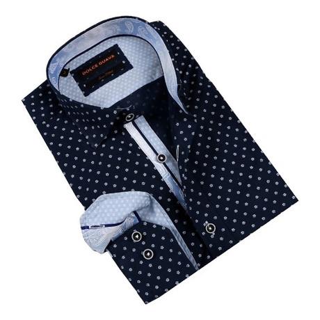 Daisy Field Button-Up Shirt // Navy