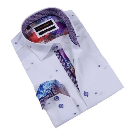 Paisley Check Cuff Button-Up Shirt // White