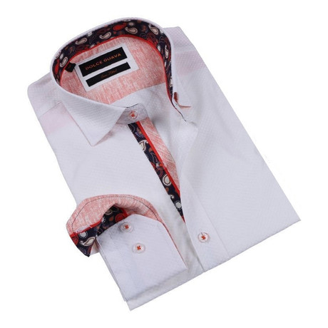 Paisley Burlap Cuff Button-Up Shirt // White (S)