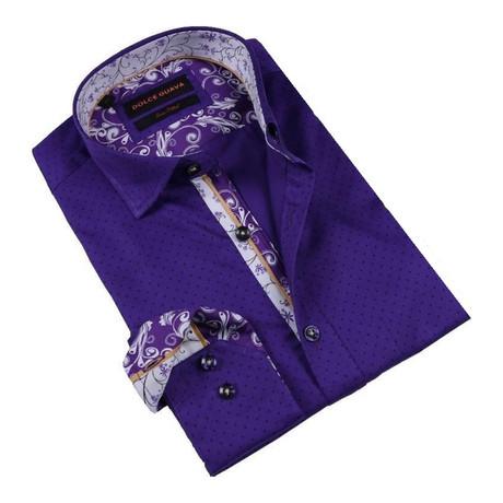 Retro Vine Cuff Button-Up Shirt // Purple