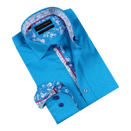 Retro Vine Cuff Button-Up Shirt // Turquoise