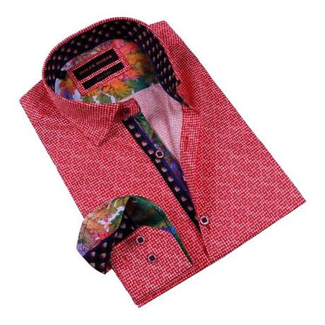 Galaxy Cuff Button-Up Shirt // Red