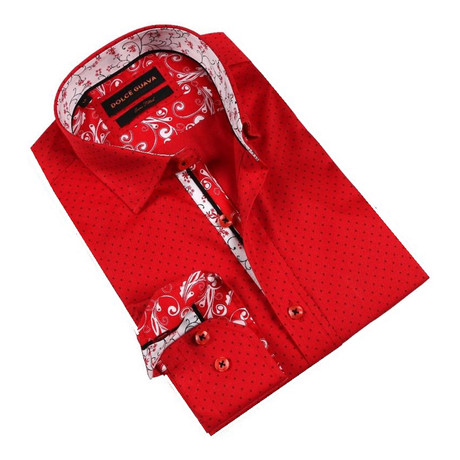 Retro Vine Cuff Button-Up Shirt // Red