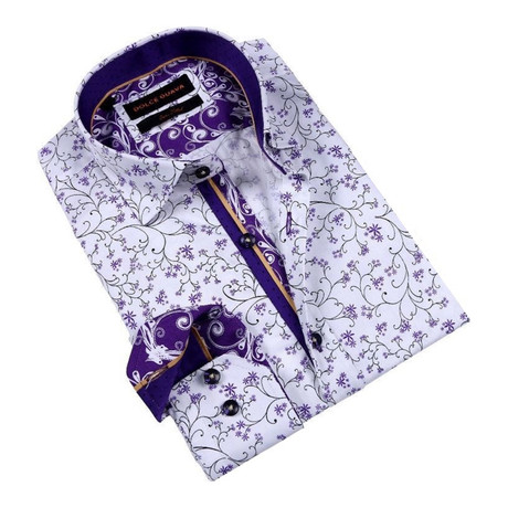Sprigs Button-Up Shirt // Purple
