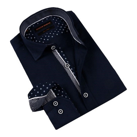 Daisy Cuff Button-Up Shirt // Navy