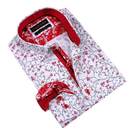 Sprigs Button-Up Shirt // Red