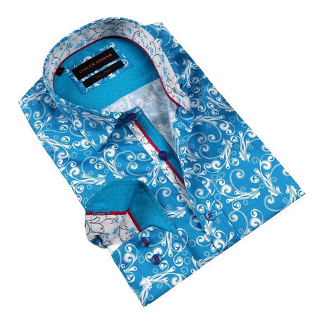 Retro Vine Button-Up Shirt // Turquoise