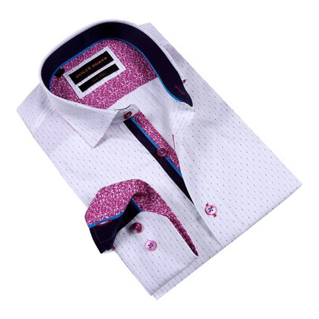 Henna Cuff Button-Up Shirt // Fuchsia