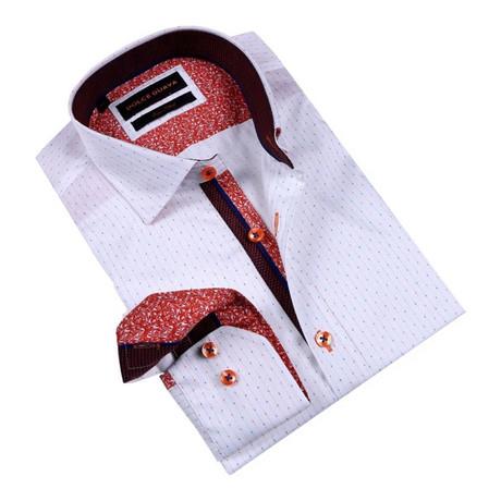 Henna Cuff Button-Up Shirt // Orange (S)