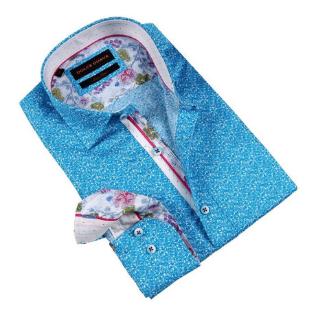 Floral Cuff Button-Up Shirt // Turquoise (S)