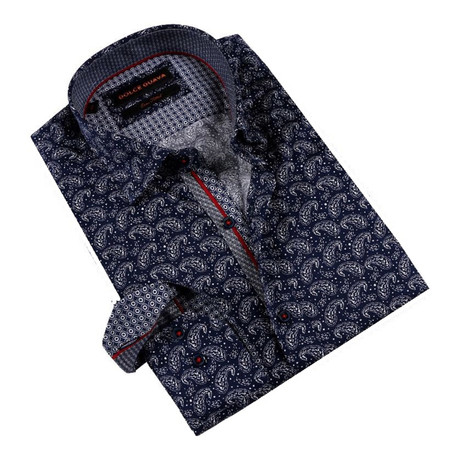 Dotted Paisley Button-Up Shirt // Navy (S)