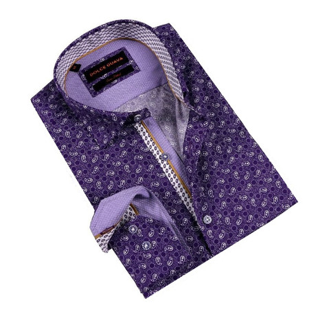 Paisley Party Button-Up Shirt // Purple