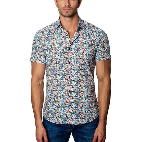 Multi Print Short Sleeve Button-Up Shirt // White (S)