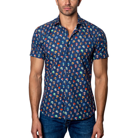 Short-Sleeve Button-Up // Navy (S)