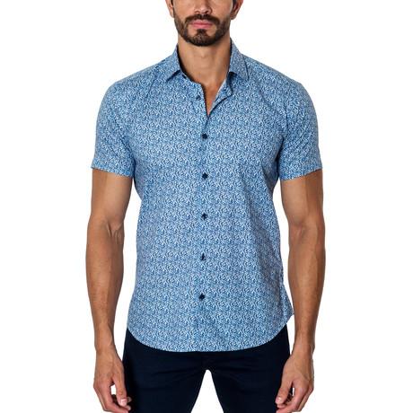 Woven Short Sleeve Button-Up // Blue Print (S)