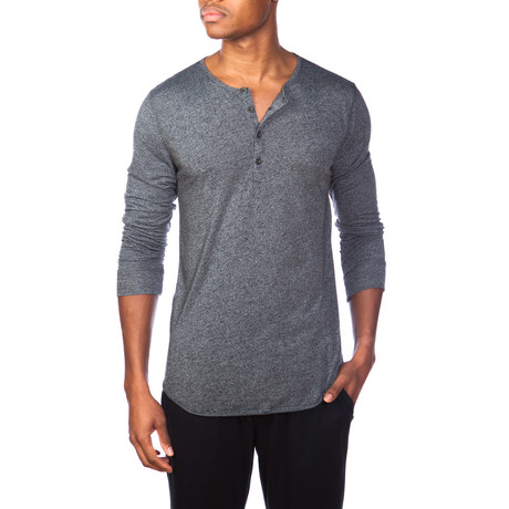 Super Soft Long-Sleeve Lounge Henley // Gray Melange (S)