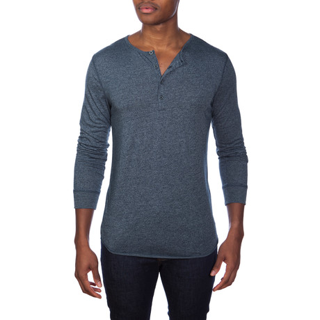 Super Soft Long-Sleeve Lounge Henley // Blue Melange (S)