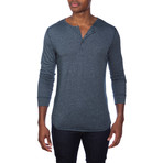 Super Soft Long Sleeve Lounge Henley // Blue Melange (S)