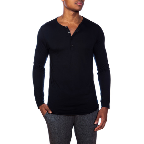 Super Soft Long-Sleeve Lounge Henley // Black (S)