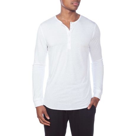 Super Soft Long-Sleeve Lounge Henley // White
