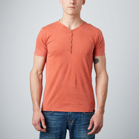 Laethe Short-Sleeve Henley // Orange