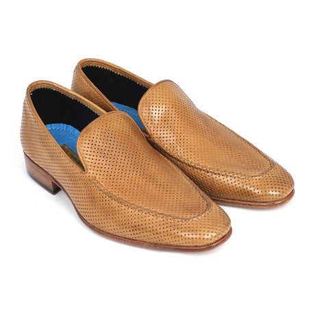 Perforated Leather Loafers // Beige