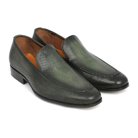 Perforated Leather Loafers // Green (Euro: 42)
