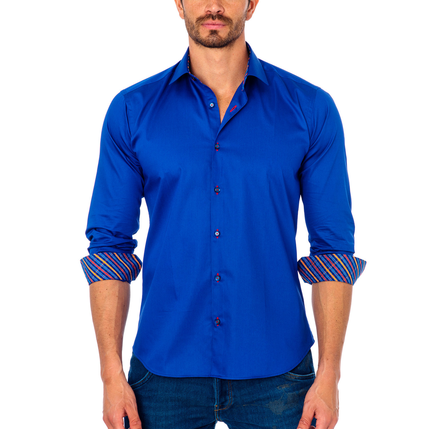 Office stripe placket button up shirt royal blue s for Blue button up work shirt
