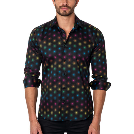 Wish Upon a Star Button-Up Shirt // Black Multi