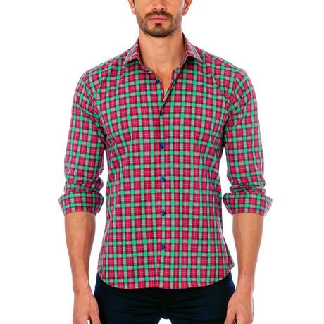 Plaid Button-Up Shirt // Green + Fuschia