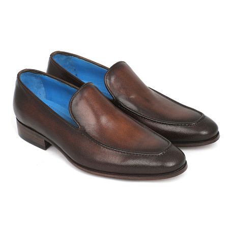 Perforated Leather Loafers // Brown